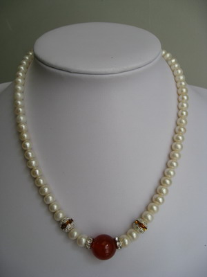 100% natural pearl necklace with stone top grade OEM