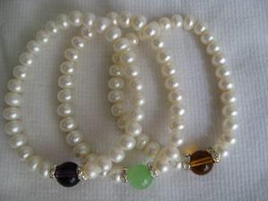 100% natural pearl bracelet with stone top grade OEM