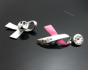 Alloy Breast Cancer Ribbon pink brooch